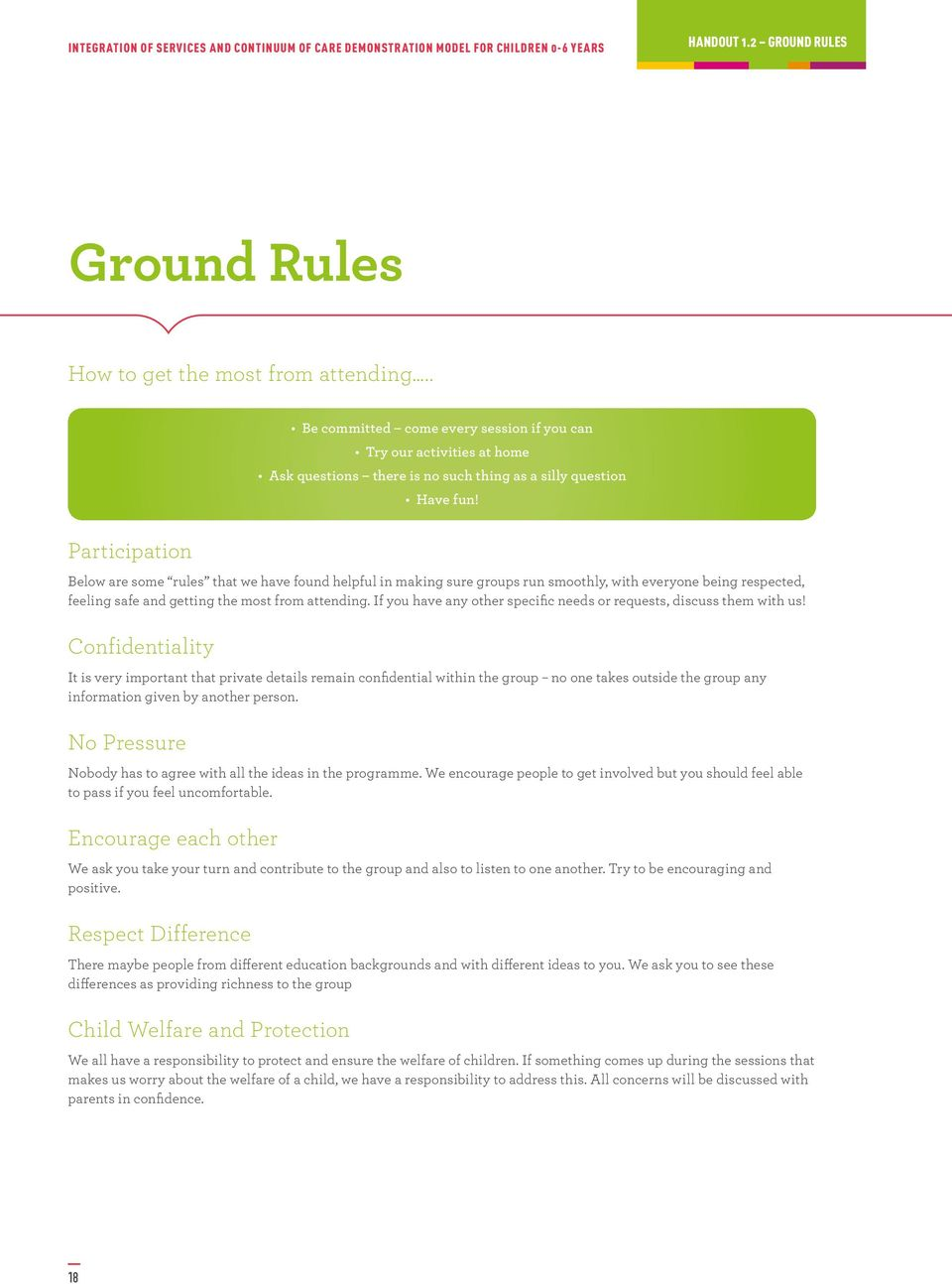 Participation Below are some rules that we have found helpful in making sure groups run smoothly, with everyone being respected, feeling safe and getting the most from attending.