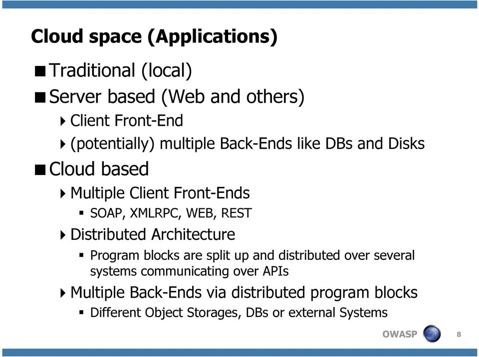 WEB, REST Distributed Architecture Program blocks are split up and distributed over several systems