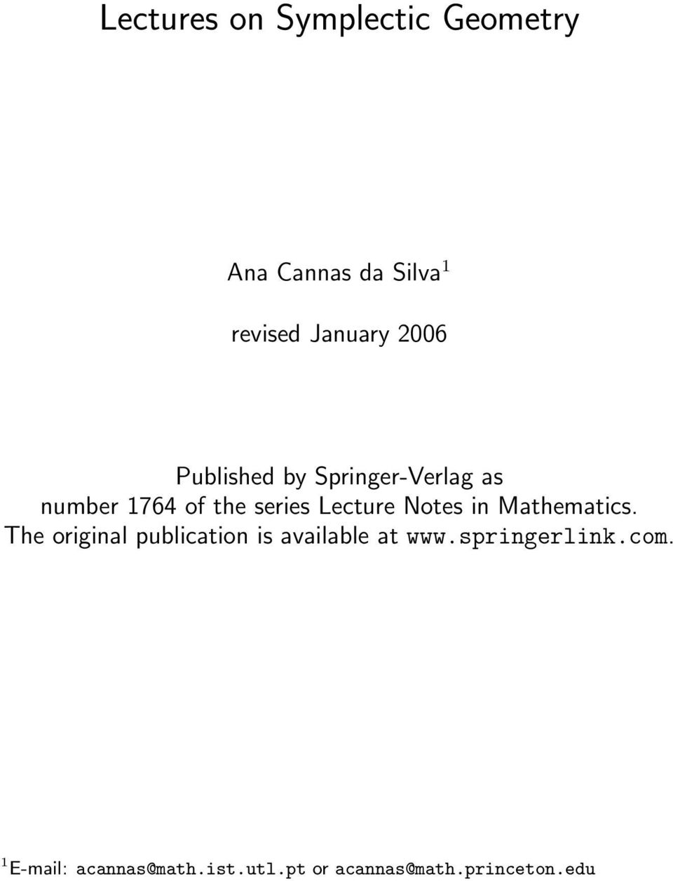 Notes in Mathematics. The original publication is available at www.