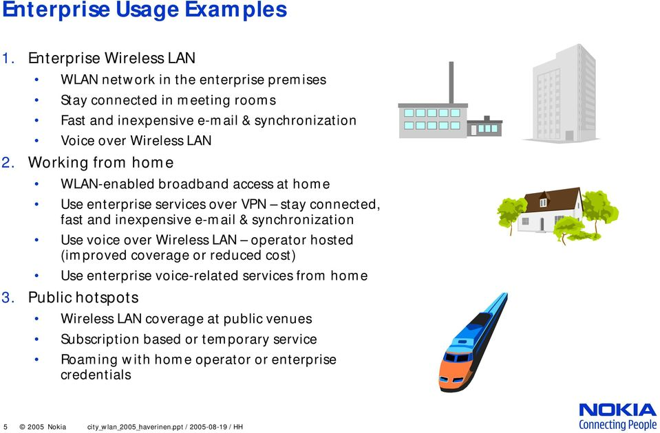 Working from home WLAN-enabled broadband access at home Use enterprise services over VPN stay connected, fast and inexpensive e-mail & synchronization Use voice over