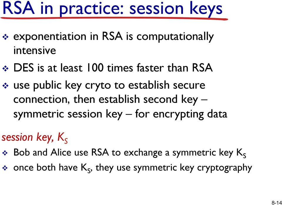establish second key symmetric session key for encrypting data session key, K S v Bob and Alice