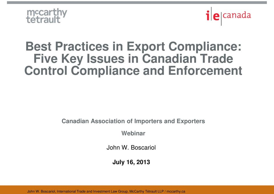 Enforcement Canadian Association of Importers