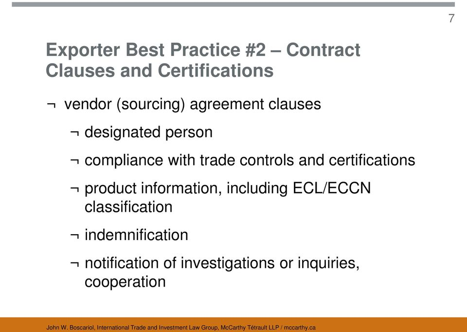 controls and certifications product information, including ECL/ECCN