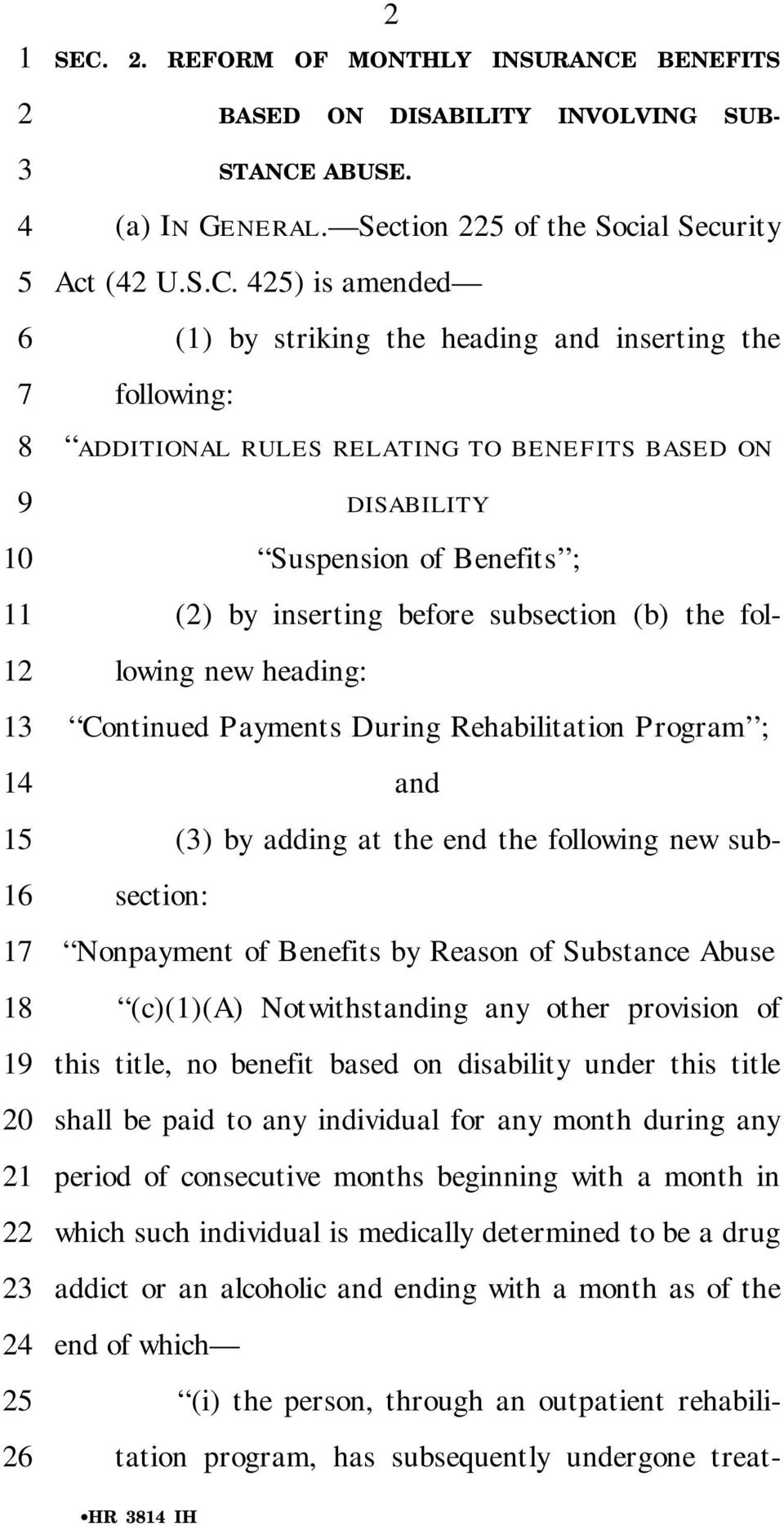 BENEFITS BASED ON DISABILITY INVOLVING SUB- STANCE