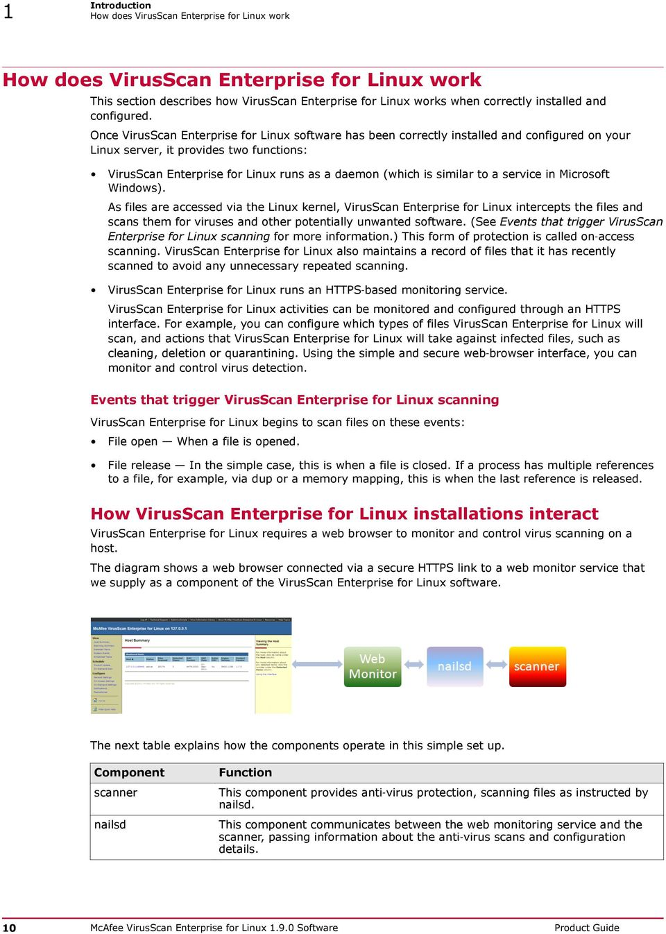 an introduction to the document and product mcafee virusscan for windows95 This release guide introduces mcafee virusscan® enterprise software version  70, and describes  product introduction and features, detailed instructions for.
