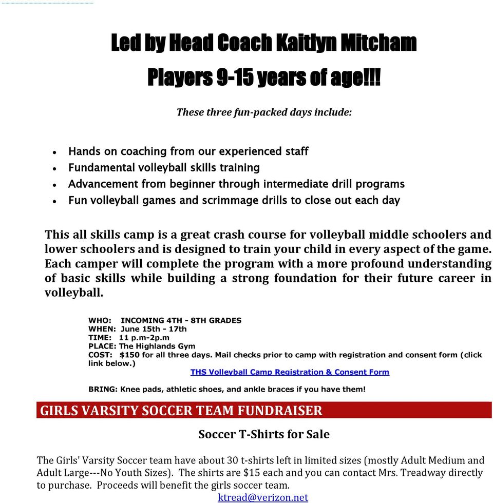 volleyball games and scrimmage drills to close out each day This all skills camp is a great crash course for volleyball middle schoolers and lower schoolers and is designed to train your child in