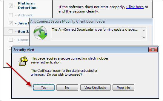 Answer Yes on another Certificated Issuer related Security Alert message: After loading, the client installs and configures