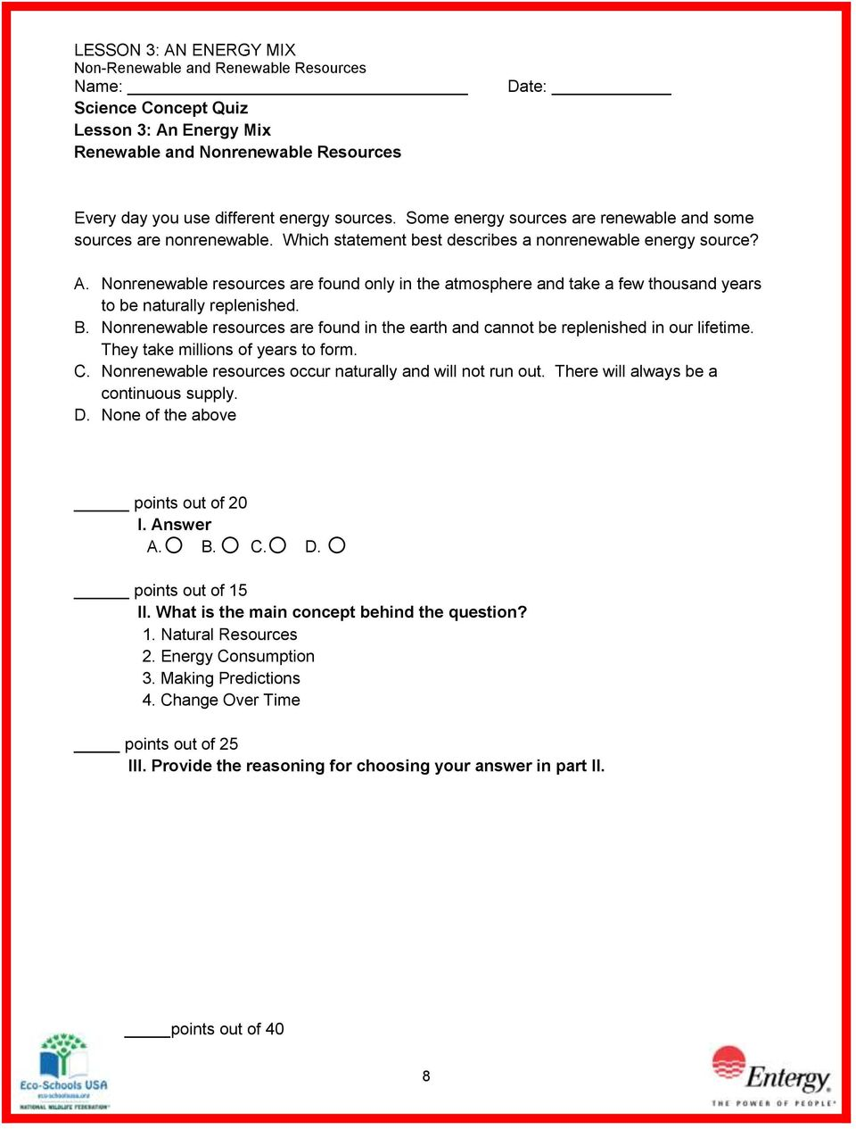 worksheet Renewable And Nonrenewable Resources Worksheets lesson 3 an energy mix renewable and nonrenewable resources pdf are found only in the atmosphere take a few thousand years to be