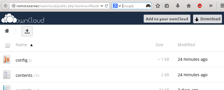 4.4.2 Connecting to a Remote Share 1. Open the share link in your Web browser. 2. Click the Add to your owncloud button, and enter the URL of your owncloud server.