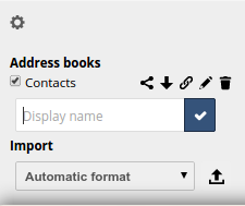 1. Click the + Add Address Book option in the Contacts settings field. A field opens requesting you to enter a display name for the new address book. Figure 5.9: Adding an address book 2.
