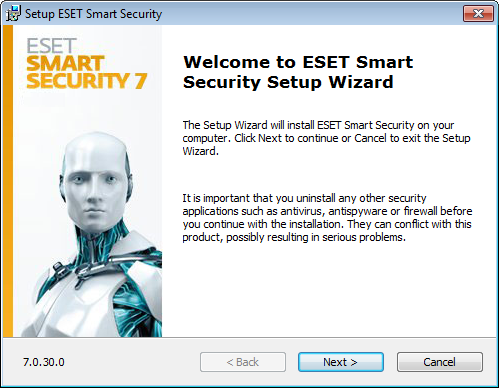 Installation ESET Smart Security contains components that may conflict with other antivirus products or security software installed on your computer.