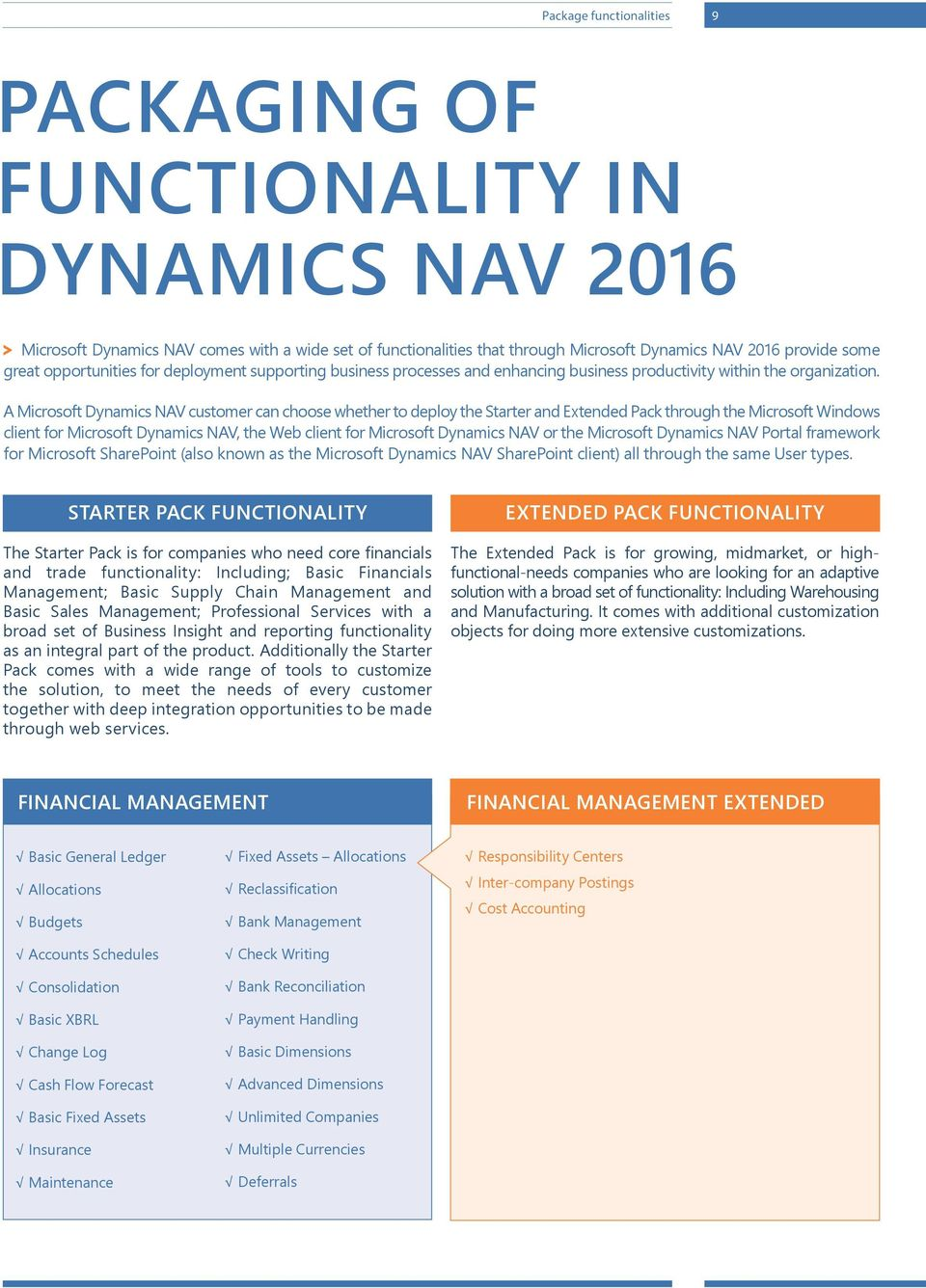 A Microsoft Dynamics NAV customer can choose whether to deploy the Starter and Extended Pack through the Microsoft Windows client for Microsoft Dynamics NAV, the Web client for Microsoft Dynamics NAV