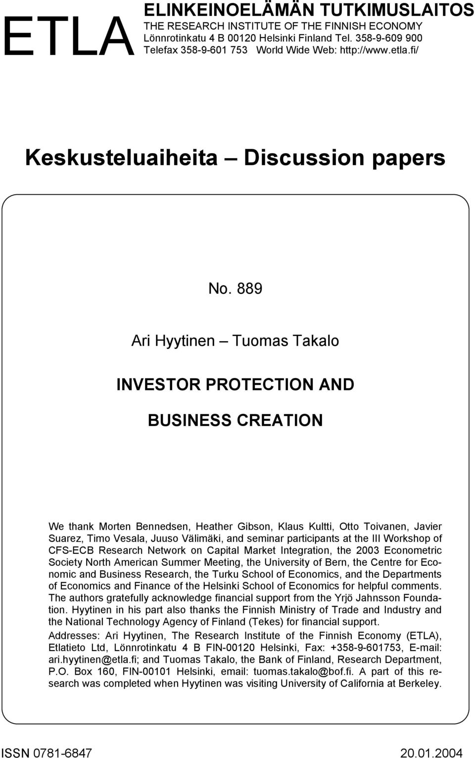 bank of finland research discussion papers 2004-8-2 the world bank social protection discussion papers are not formal publications of the  and background research 2  norway, finland.