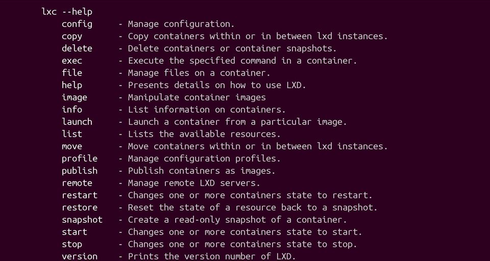- Presents details on how to use LXD. - Manipulate container images - List information on containers. - Launch a container from a particular image. - Lists the available resources.