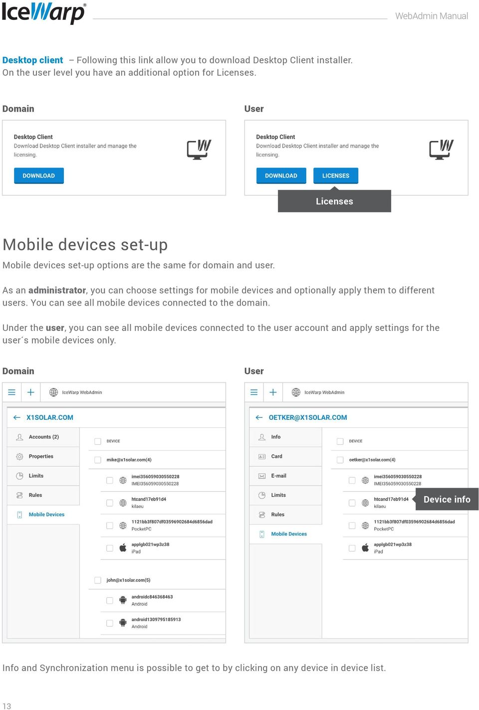 As an administrator, you can choose settings for mobile devices and optionally apply them to different users. You can see all mobile devices connected to the domain.