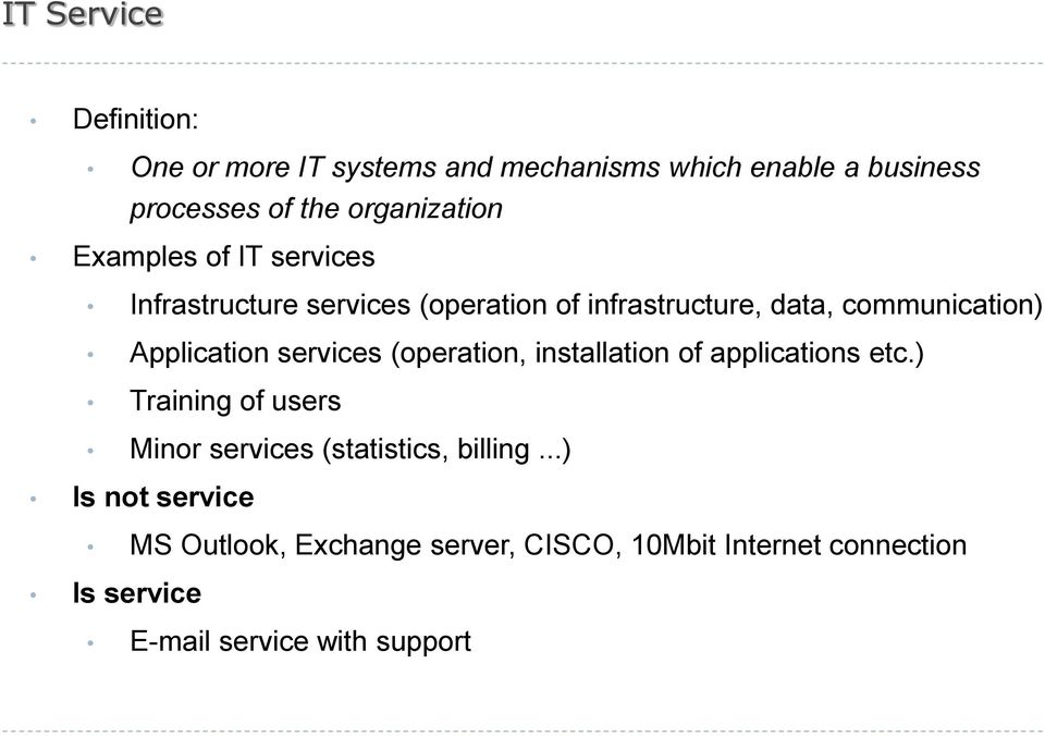 Application services (operation, installation of applications etc.