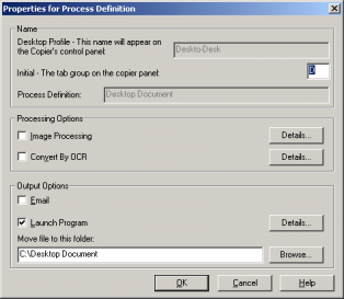The Convert by OCR process definition default is Rich Text Format (RTF). The resulting files are then placed in the Desktop Document Manager desktop folder.