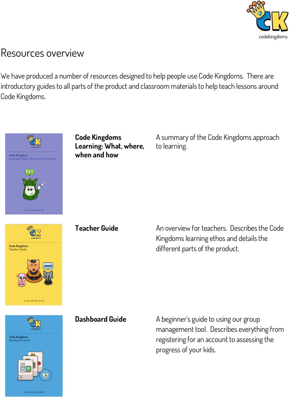 Code Kingdoms Learning: What, where, when and how A summary of the Code Kingdoms approach to learning. Teacher Guide An overview for teachers.