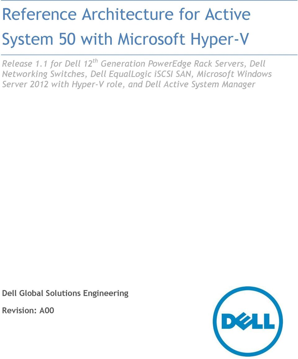 Reference architecture for active system 50 with microsoft for Microsoft hyper v architecture
