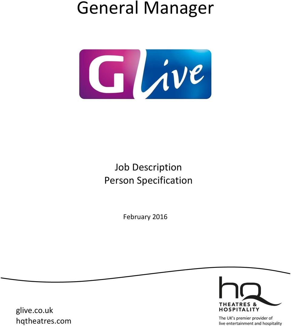 general manager job description person specification glive co uk transcription