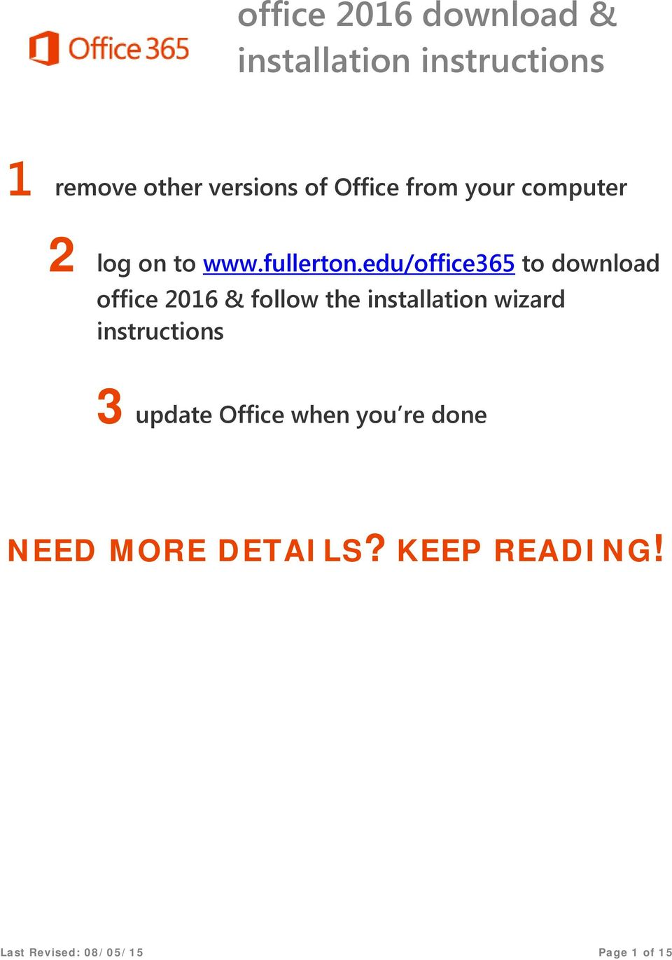 edu/office365 to download office 2016 & follow the installation wizard