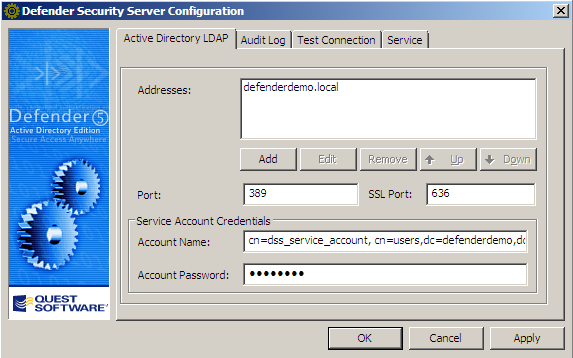 Test Defender Server connectivity with AD In this session, you ll take the role of an administrator testing connectivity between the Defender Security Server (DSS) and Active Directory.
