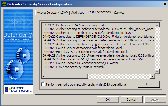 2. To test connectivity between the DSS and Active Directory, select the Test Connection tab: 3.