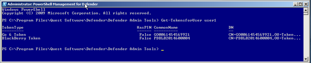 Summary In this session, you used PowerShell Management for Defender to list the Defender cmdlets that are available and used the Get-TokensforUser cmdlet to display a list of the tokens that are