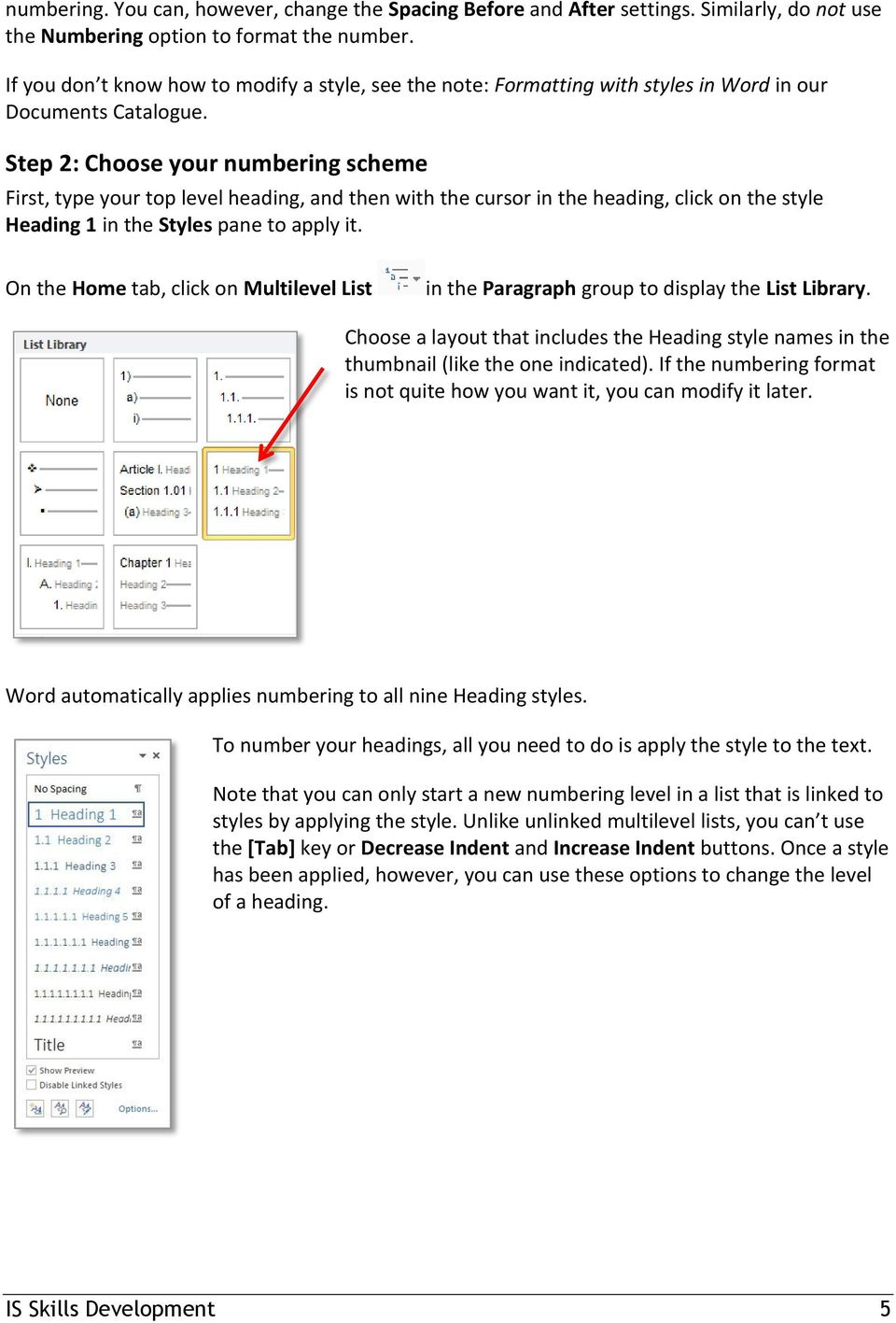 how to set heading numbering in word