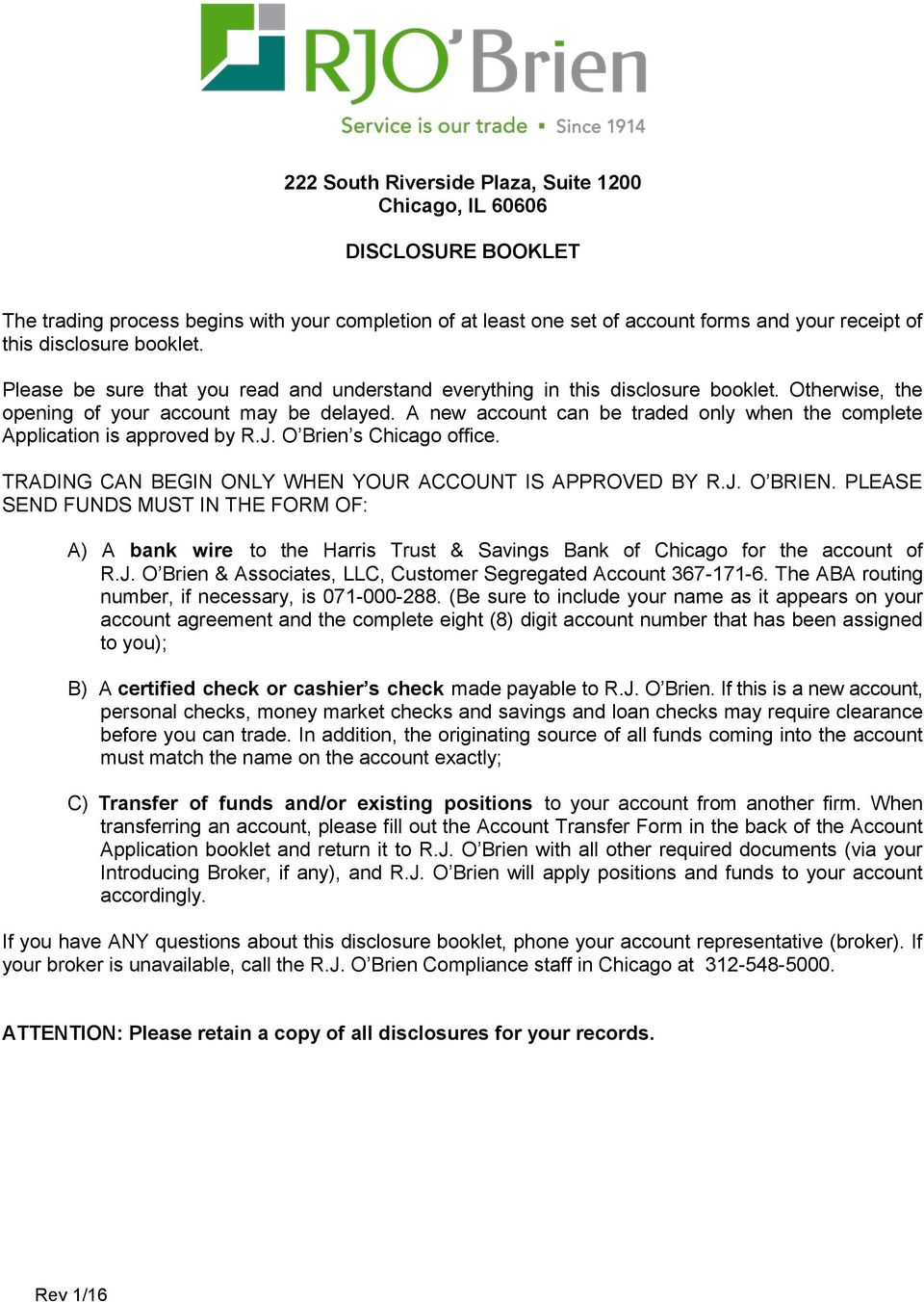 Electronic trading and order routing systems disclosure statement