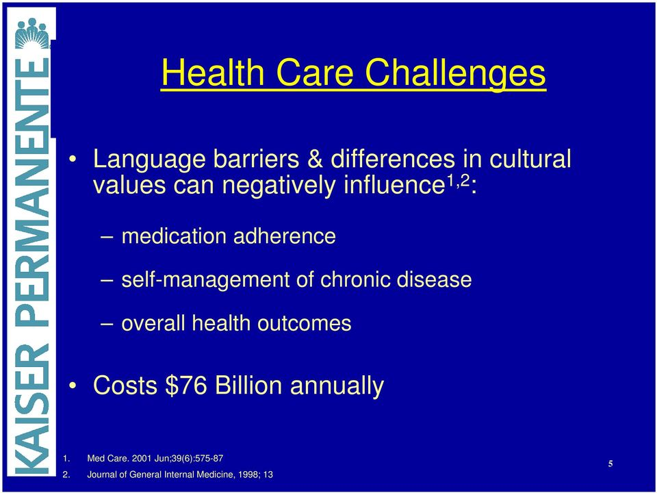 chronic disease overall health outcomes Costs $76 Billion annually 1.