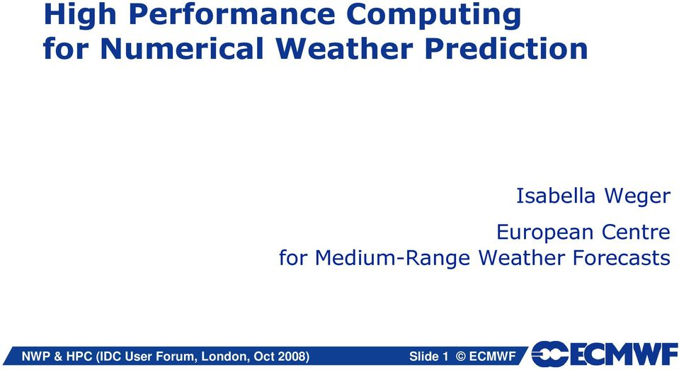 high performance computing for numerical weather prediction pdf