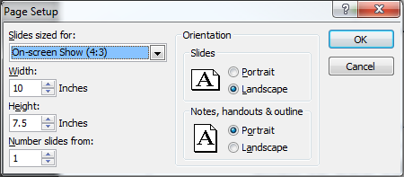 Design Tab Slide Layout This tab can be used to set slide layout options for a PowerPoint presentation. Page Setup The Page Setup group contains the options to specify the slide size and orientation.
