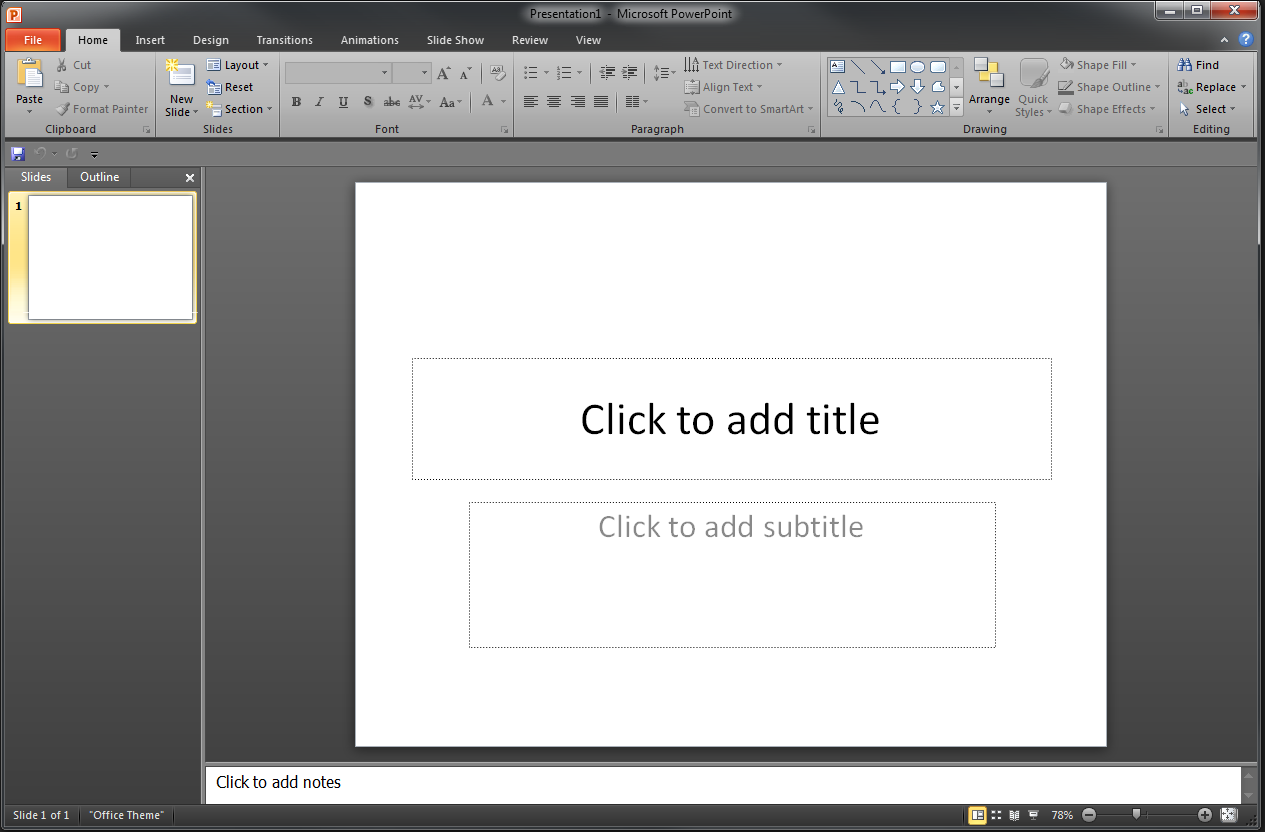 Appearance of Microsoft PowerPoint After opening Microsoft PowerPoint, you will be taken to a blank presentation and see the following screen.