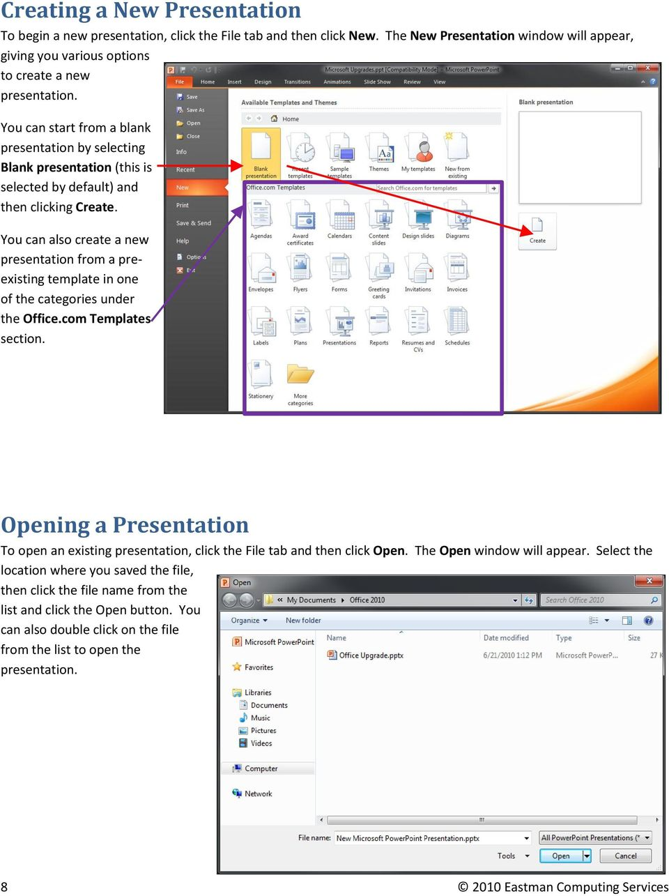 You can also create a new presentation from a preexisting template in one of the categories under the Office.com Templates section.