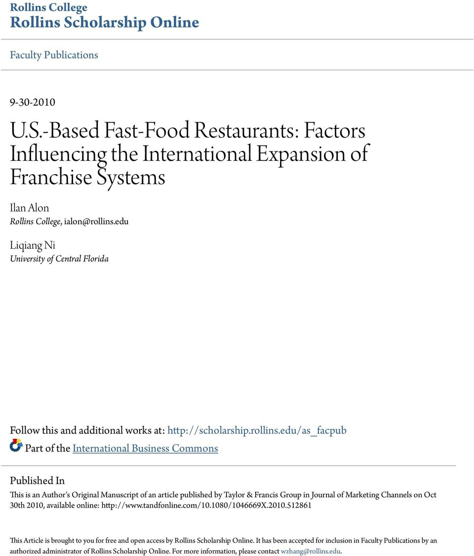 external factors affecting fast food chains Impact of external environment on the performance of the fast food industry  and pizza chains (lattin, 1985) the aim of this study is to investigate the effects of pest forces on the.