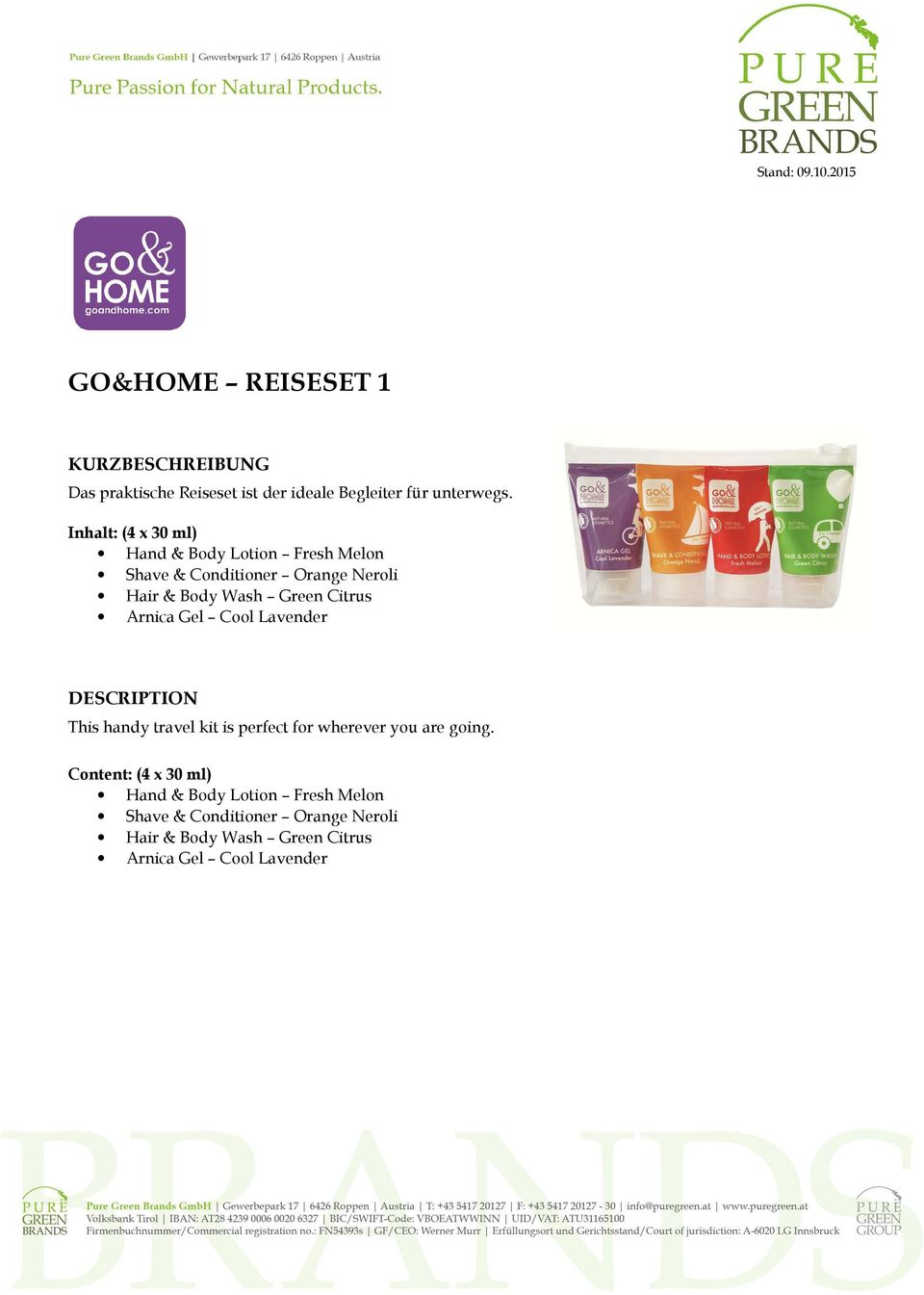 Citrus Arnica Gel Cool Lavender DESCRIPTION This handy travel kit is perfect for wherever you are going.