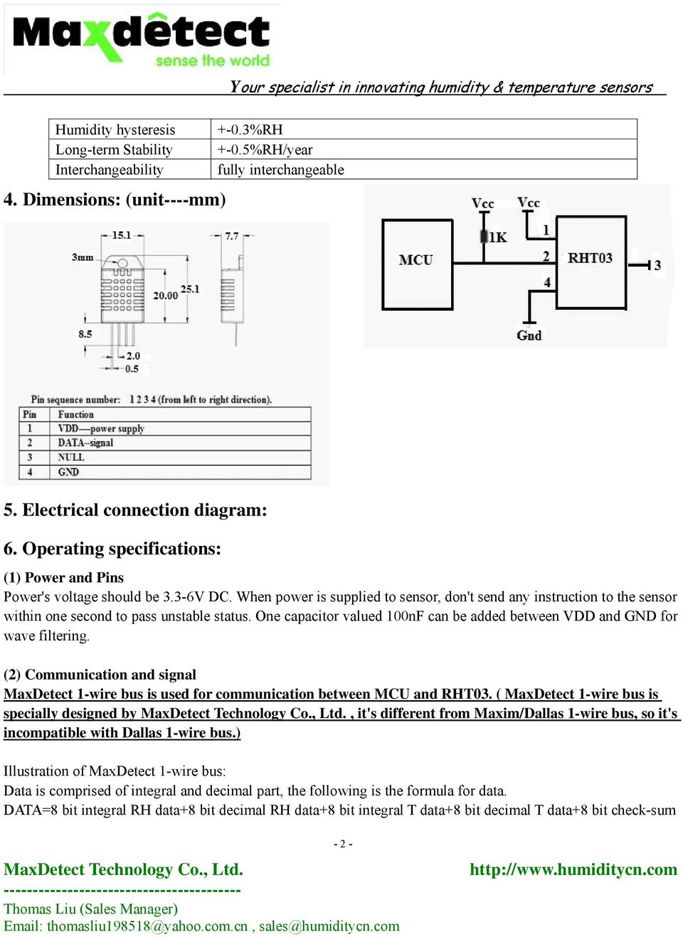 Digital Relative Humidity Temperature Sensor Rht03 Pdf Two Wire Gauge Wiring Diagram One Capacitor Valued 100nf Can Be Added Between Vdd And Gnd For Wave Filtering