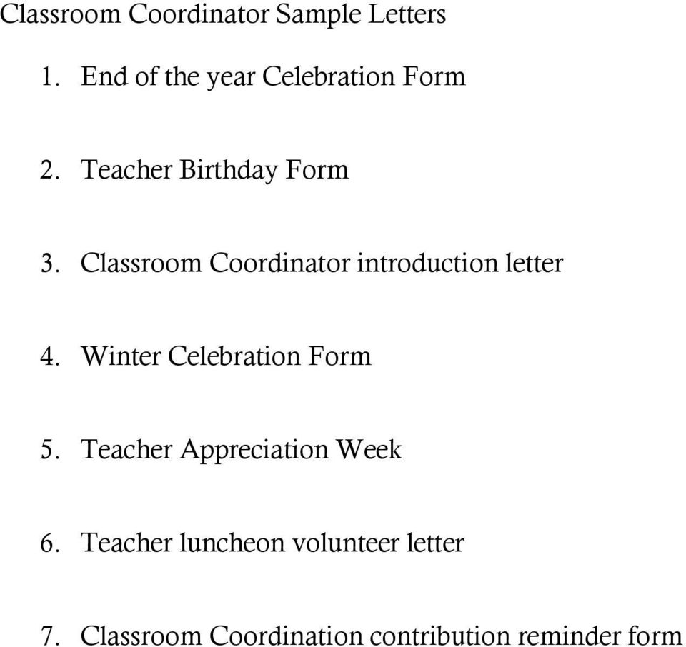 7 Classroom Coordination Contribution Reminder Form