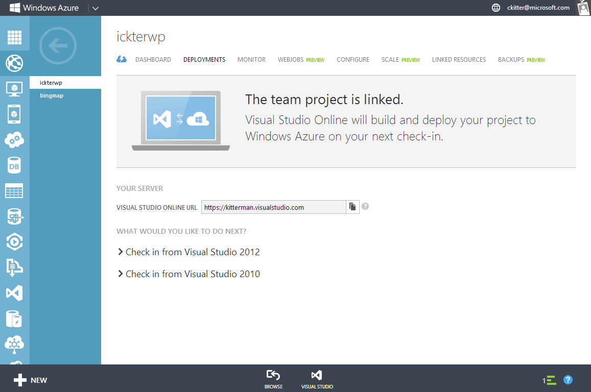 Continuous integration with Azure Link Azure website to Visual Studio Online