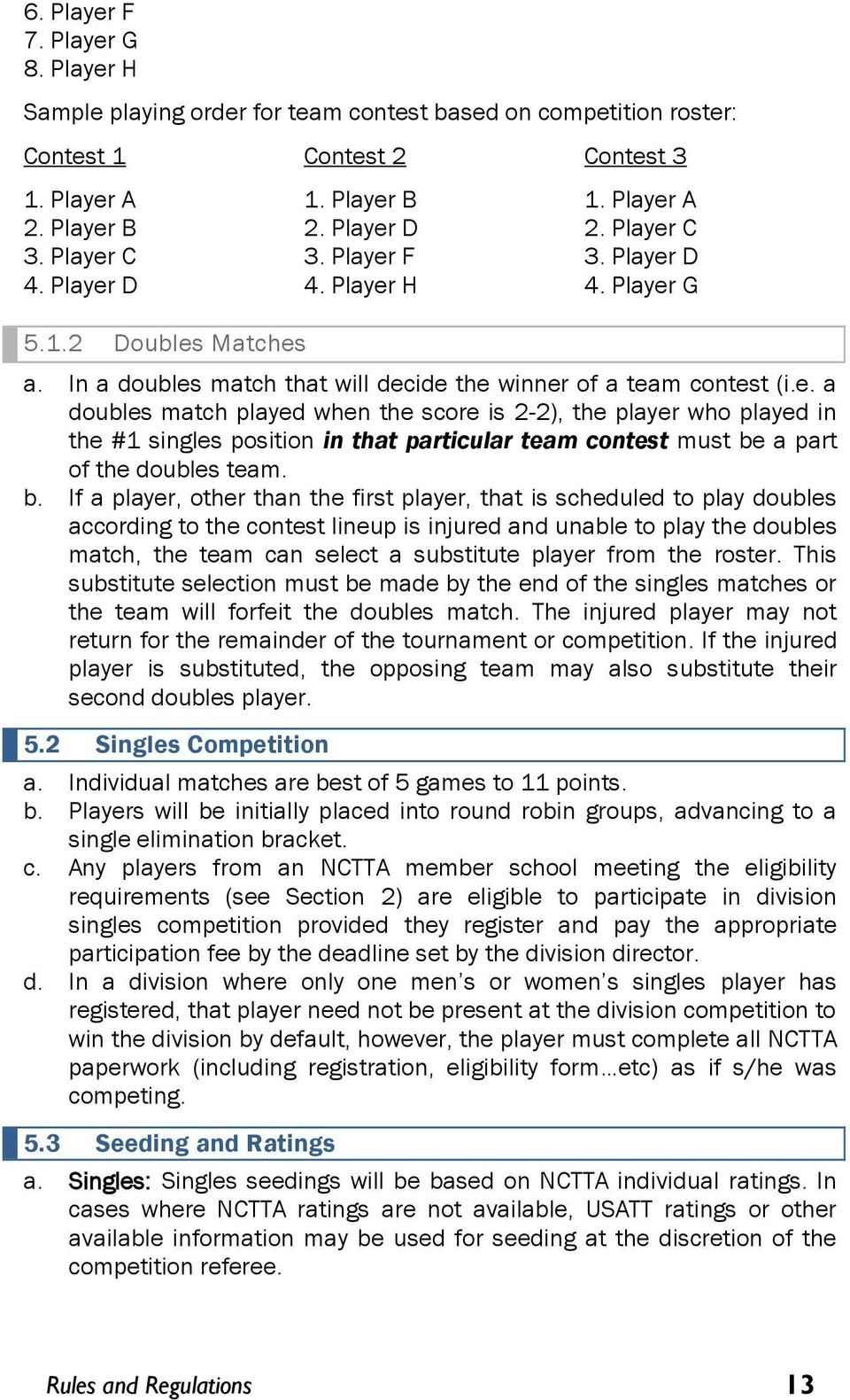 b. If a player, other than the first player, that is scheduled to play doubles according to the contest lineup is injured and unable to play the doubles match, the team can select a substitute player