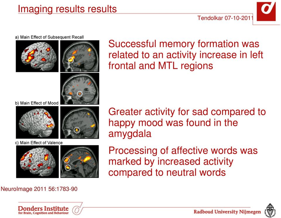 compared to happy mood was found in the amygdala Processing of affective