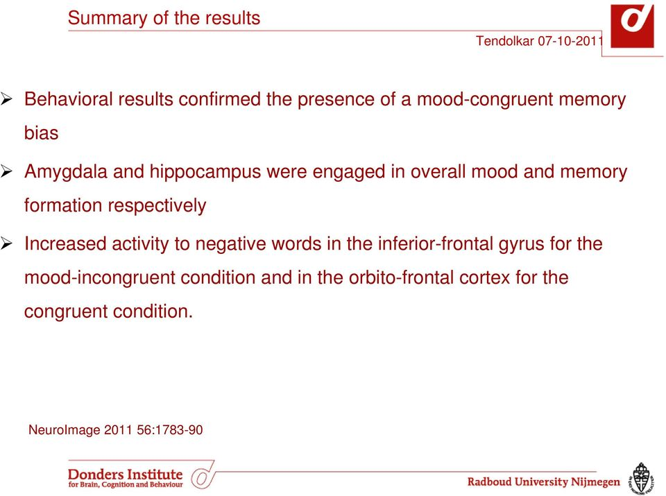 Increased activity to negative words in the inferior-frontal gyrus for the mood-incongruent
