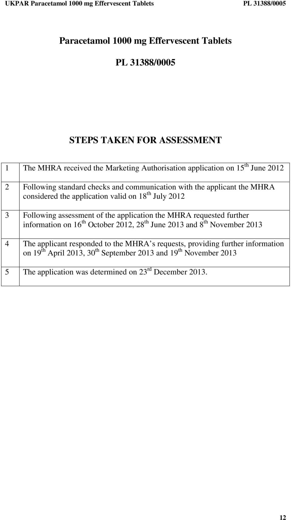 the application the MHRA requested further information on 16 th October 2012, 28 th June 2013 and 8 th November 2013 4 The applicant responded to the MHRA s