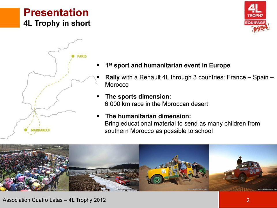 000 km race in the Moroccan desert The humanitarian dimension: Bring educational material