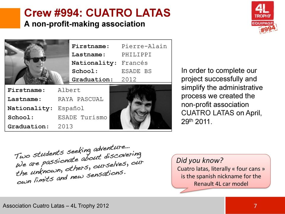 we created the non-profit association CUATRO LATAS on April, 29 th 2011. Two students seeking adventure!