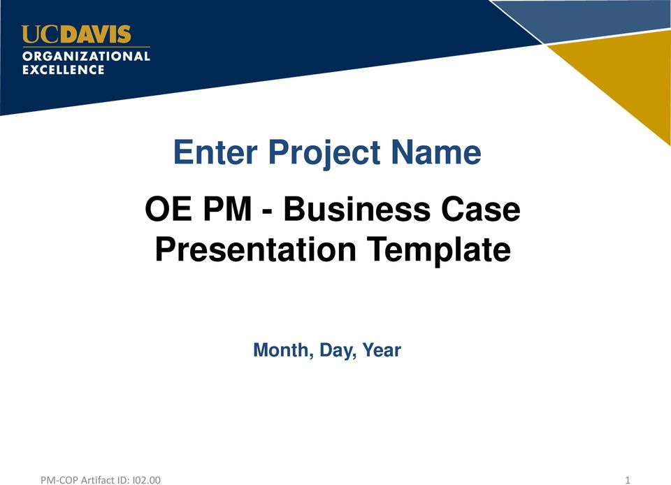 presenting a business case template - enter project name oe pm business case presentation