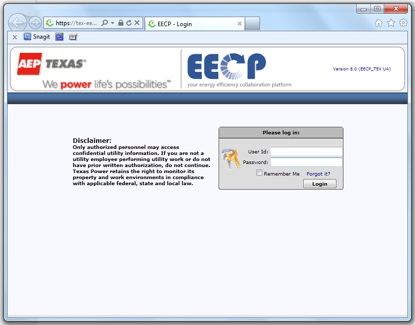 FIGURE 9 EECP LOGIN PAGE 3. Enter your Username and Password and click the Login button. 4.