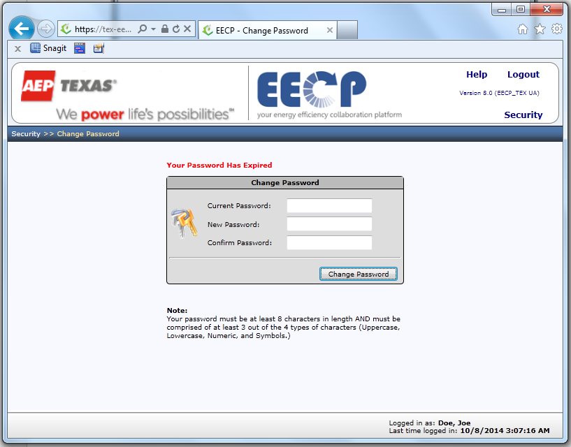 FIGURE 10 CHANGE PASSWORD PAGE 5.