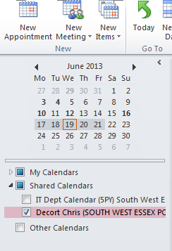 5. Adding Shared NHS.NET Calendars to Microsoft Outlook 2010 1. Open Microsoft Outlook 2010 2.